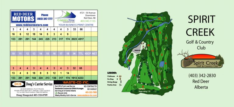 Spirit Creek Golf Red Deer - Score Card